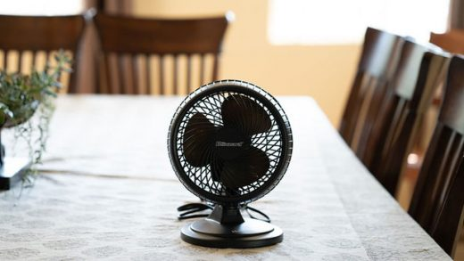 """Small fan in living room"" by Your Best Digs licensed under CC BY 2.0"