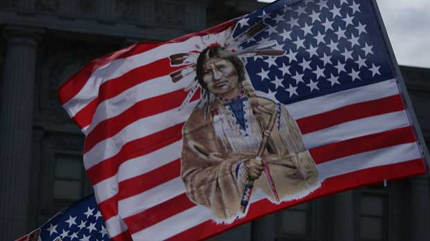 Native American on flag