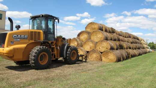 FILE - In this Aug. 22, 2017, file photo, bales of hay that have been donated for a lottery drawing to help drought-stricken farmers and ranchers are stacked at a site near the North Dakota State University campus in Fargo, N.D. State agriculture officials in the Northern Plains are starting the process of divvying up tons of hay donated from around the country to help drought-plagued ranchers in the region. (AP Photo/Dave Kolpack, File)