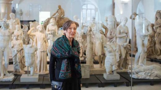 Art patron Erika Hoffmann stands in front of sculptures as the tours the Albertinum in Dresden, eastern Germany, Friday, March 9, 2018. The sculptures are among the 1200 works of the Hoffmann collection which were donated to the Staatlichen Kunstsammlungen Dresden. (Oliver Killig/dpa via AP)
