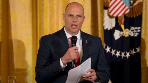 FILE - In this Aug. 20, 2018, file photo, Acting U.S. Immigration and Customs Enforcement Director Ronald Vitiello speaks during an event in Washington. Nearly 70 former judges, including federal judges and state supreme court justices, sent a letter to Vitiello calling for U.S. immigration officials to stop making arrests at courthouses of people suspected of being in the country illegally, saying immigrants should be free to visit halls of justice without fearing they will be detained. (AP Photo/Andrew Harnik, File)