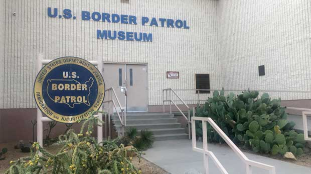 In this Nov. 29, 2018 photo, is the entrance of the U.S. Border Patrol Museum in El Paso, Texas. The U.S. Border Patrol Museum explores the story from the agency's formation to fight Chinese immigration and Prohibition, to its role amid massive migration and cartel drug smuggling. (AP Photo/Russell Contreras)