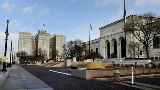 This Tuesday, Jan. 8, 2019 photo shows a view of The Detroit Institute of Arts and the Park Shelton building, which will be part of the cultural campus in Detroit. Design options will soon be revealed for a plan that seeks to link nearly a dozen major institutions in Detroit and make the area more walkable. (Max Ortiz/Detroit News via AP)