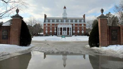 This Tuesday, Feb. 5, 2019, photo shows the campus of Green Mountain College in Poultney, Vt. The liberal arts college, which saw enrollment drop 43 percent over the last decade, announced it will close in May, going the way of some other small schools that have struggled to stay afloat. (AP Photo/Lisa Rathke)