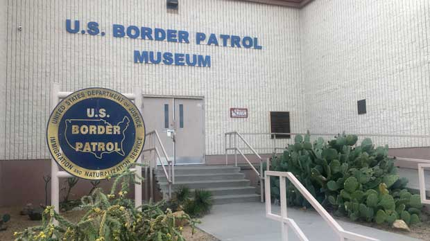 FILE - In this Nov. 29, 2018 photo, is the entrance of the U.S. Border Patrol Museum in El Paso, Texas. The U.S. Border Patrol Museum in El Paso announced on its Facebook page Wednesday, Feb. 27, 2019, it reopen after officials say immigrant rights advocates damaged some exhibits during a protest earlier this month. (AP Photo/Russell Contreras,File)