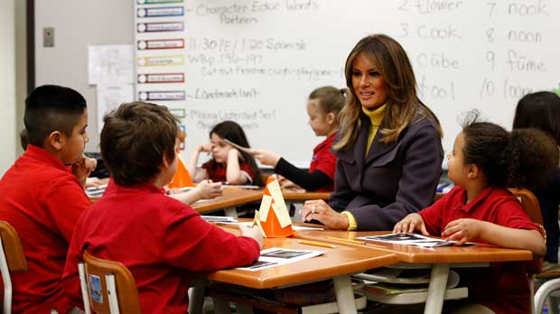 First lady Melania Trump visits with students in a classroom at Dove School of Discovery in Tulsa, Okla., Monday, March 4, 2019, during a two-day, three-state swing to promote her Be Best campaign. (AP Photo/Patrick Semansky)