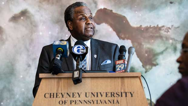 Aaron A. Walton, Cheyney's president, announces fundraising campaign and continued partnerships to ensure the school's financial future, during a news conference at the school Tuesday, March 5, 2019 in Philadelphia. The nation's oldest historically black college, which has struggled with plummeting enrollment and financial woes in recent years, has announced a plan intended to balance the school's budget and lure new, top-tier students. (Jose F. Moreno/The Philadelphia Inquirer via AP)