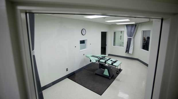 FILE - This Sept. 21, 2010, file photo shows the interior of the lethal injection facility at San Quentin State Prison in San Quentin, Calif. Gov. Gavin Newsom is expected to sign a moratorium on the death penalty in California Wednesday, March 13, 2019. (AP Photo/Eric Risberg, File)