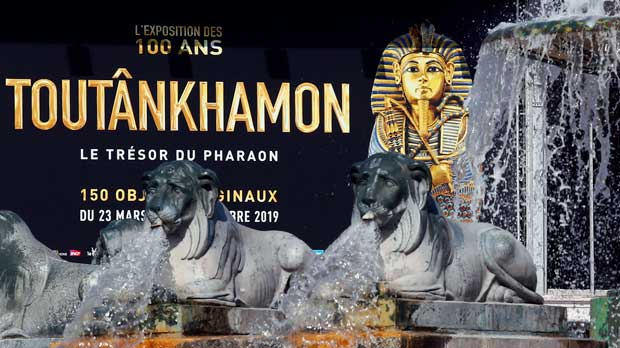The entrance placard of 'Tutankhamun, the treasure of the Pharaoh', an exhibition in partnership with the Grand Egyptian Museum at the Grande Halle of La Villette in Paris, France, Thursday, March 21, 2019. This exhibition, which runs from 23 March to 15 September 2019. will reveal 150 fascinating original objects found in 1922 in the tomb of the most famous Pharaoh. (AP Photo/Francois Mori)