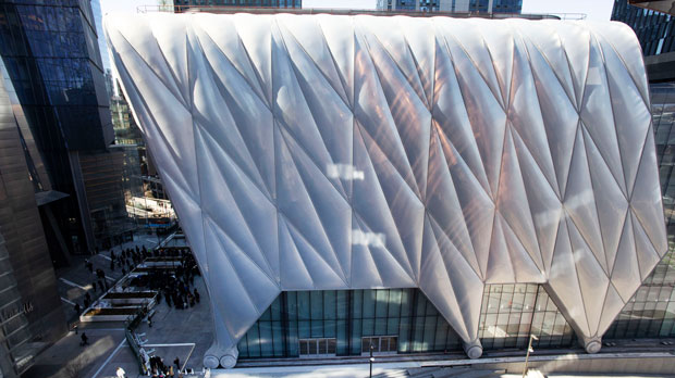 The Shed, the latest addition to Hudson Yards, Monday, April 1, 2019 in New York. The performing arts center opens to the public on Friday. (AP Photo/Mark Lennihan)