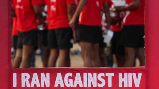 Indians participate in a health awareness run to mark World AIDS Day in Hyderabad, India