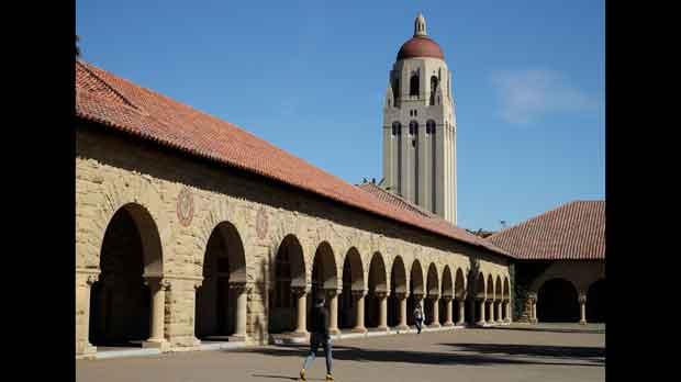 people walk on the Stanford University campus