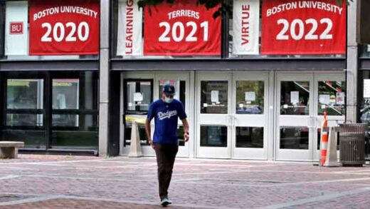 A man leaves the Boston University