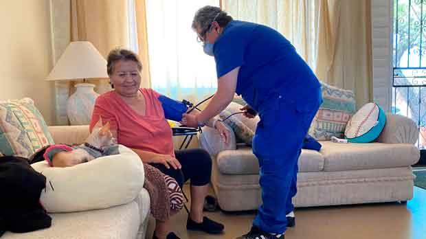 Woman receives therapy services