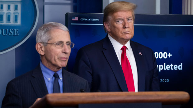 Dr. Anthony Fauci and President Donald Trump