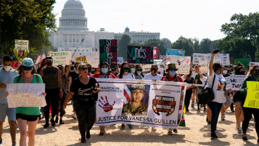 supporters of the family of slain Army Spc. Vanessa Guillen march to the White House