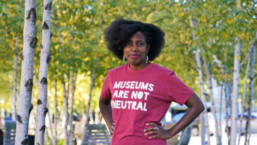 La Tanya Autry poses outside of the museum in Cleveland