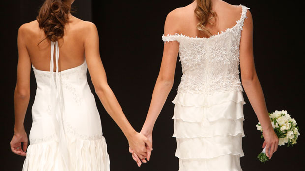 bridal models holding hands