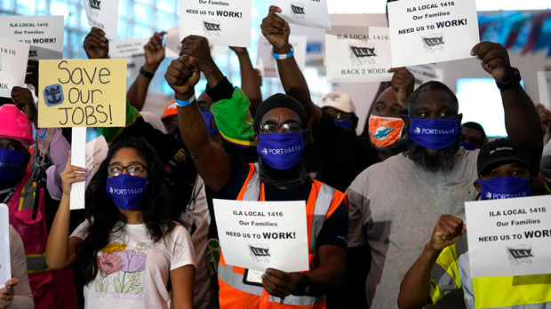 protest at PortMiami by workers