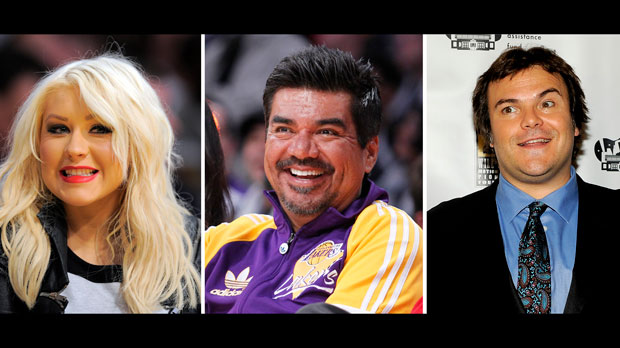 Christina Aguilera, George Lopez, and Jack Black