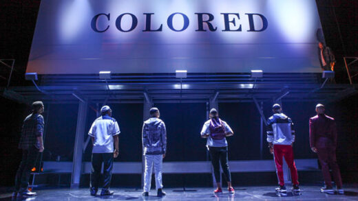 "a scene from the production of Keenan Scott II's play ""Thoughts of a Colored Man,"""