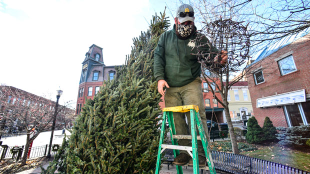 a worker helps with the Christmas tree