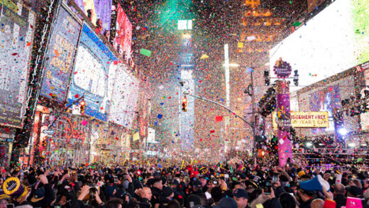 confetti falls at midnight on the Times Square New Year's Eve
