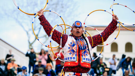 Scott Sixkiller Sinquah, who is Gila River Pima, Hopi, Cherokee and Choctaw, performs