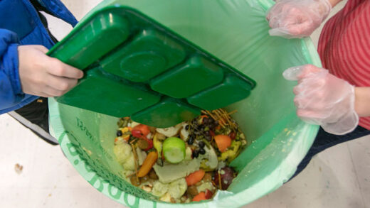 students discard food