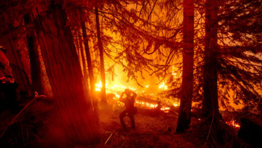 a firefighter battles the Creek Fire