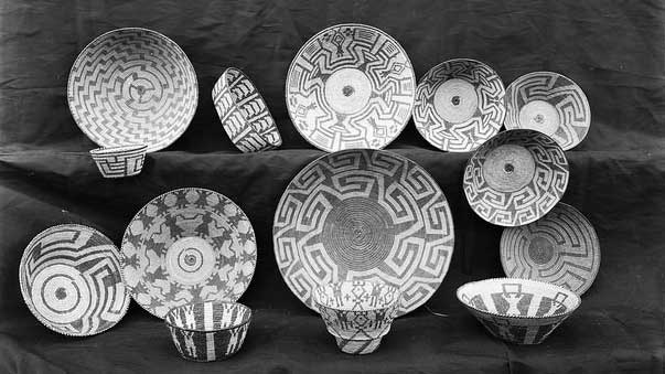 """""""Collection of Pima Indian baskets (bowls and food trays), ca.1900 (CHS-3547)"""" by Ashley Van Haeften licensed under CC BY 2.0"""