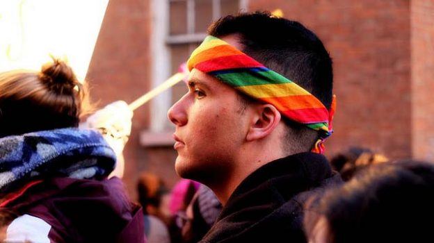 """""""The guy with the rainbow bandana"""" by De Freezer licensed under CC BY 2.0"""