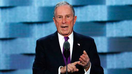 FILE - In this Wednesday, July 27, 2016, file photo, former New York City Mayor Michael Bloomberg speaks during the third day of the Democratic National Convention in Philadelphia. The former New York City mayor addressed his intensifying focus on climate change on Saturday, April 22, 2017, in an email interview with The Associated Press. Bloomberg said he wants to help save an international agreement to reduce carbon emissions. (AP Photo/J. Scott Applewhite)