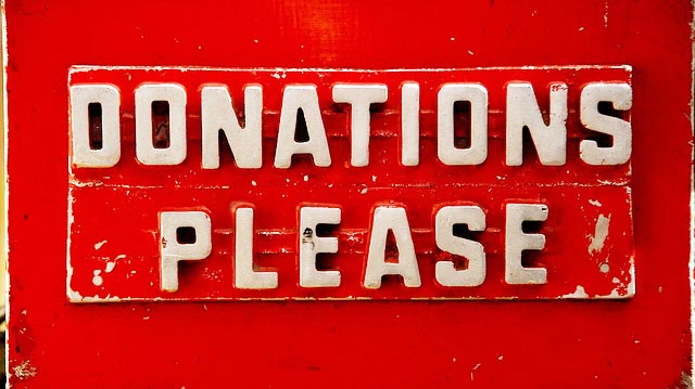 """DONATIONS PLEASE"" by Michael Clark licensed under CC BY 2.0"