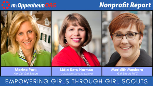 Meridith Maskara, CEO of Girl Scouts New York City, Lidia Soto-Harmon, CEO of Girl Scouts Nation's Capital (DC) and Marina Park, CEO of Girl Scouts of Northern California.