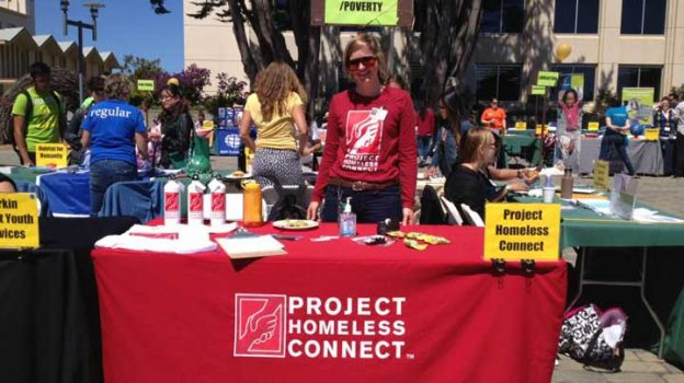 """""""Kit recruiting volunteers at the non-profit expo at usfca. PHC loves working with college students!"""" Photo Courtesy of: Project Homeless Connect."""