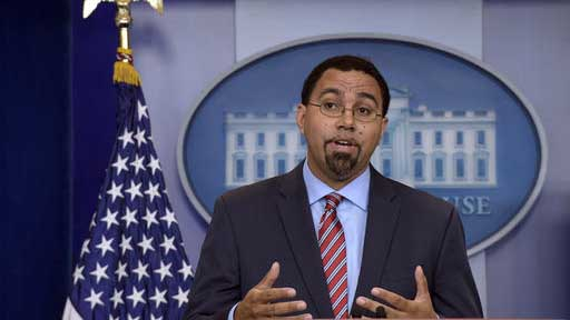 """FILE - In this Sept. 29, 2016 file photo, Education Secretary John King speaks at the White House in Washington. American students have a math problem. The latest global snapshot of student performance shows declining math scores in the U.S. and stagnant performance in science and reading. King says: """"we're losing ground, a troubling prospect when, in today's knowledge-based economy, the best jobs can go anywhere in the world.""""  (AP Photo/Susan Walsh, File)"""