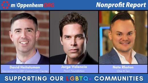 David Heitstuman, CEO of the Sacramento LGBT Community Center; Nate Rhoton, Executive Director of One N Ten; and Jorge Valencia, CEO of the Point Foundation.