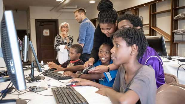 """Technology classes at the library"" Photo courtesy of The Detroit Public Library Foundation"
