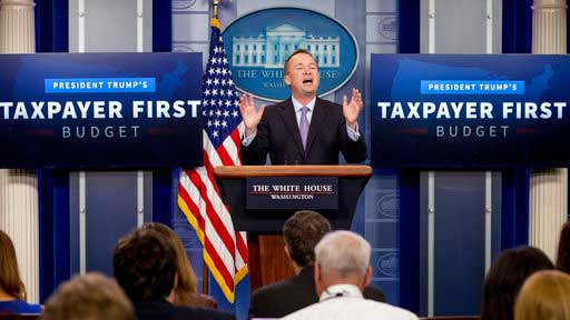 Budget Director Mick Mulvaney speaks about President Donald Trump's proposed fiscal 2018 federal budget in the Press Briefing Room of the White House in Washington, Tuesday, May 23, 2017. (AP Photo/Andrew Harnik)