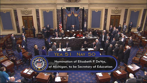 In this image from video, provided by Senate Television shows Vice President Mike Pence presiding over the Senate on Capitol Hill in Washington, Tuesday, Feb. 7, 2017, during the Senate's vote on Education Secretary-designate Betsy DeVos. The Senate confirmed DeVos with Pence breaking a 50-50 tie. (Senate Television via AP)