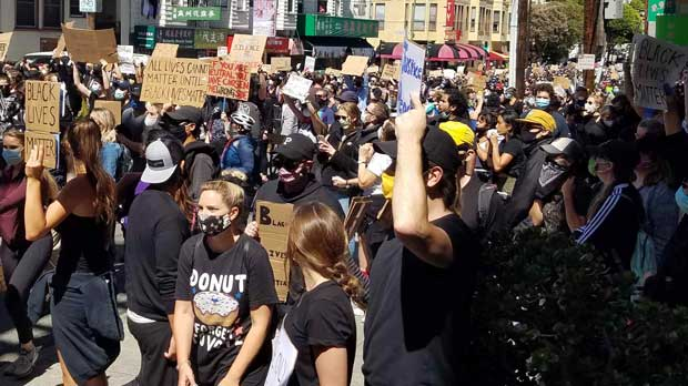 Crowds in protest in SF
